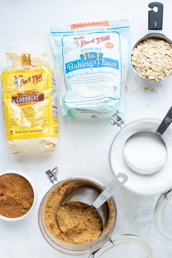 Processed flour, cornmeal, sugars, and oats that are dry goods to store in pantry.