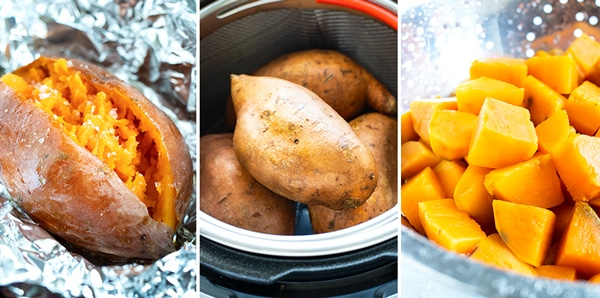 Three images showing how to bake, boil, and cook sweet potatoes in an Instant Pot.