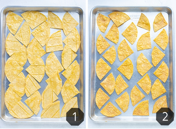 Two images showing the before and after of baking tortilla chips in the oven.
