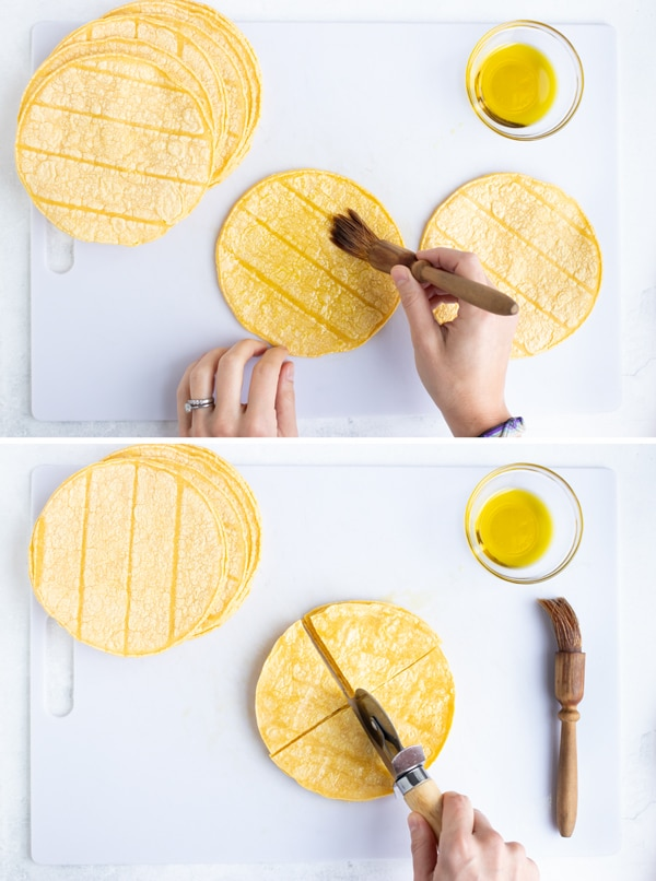 Two images showing oil being brushed onto corn tortillas and them being cut with a pizza cutter.