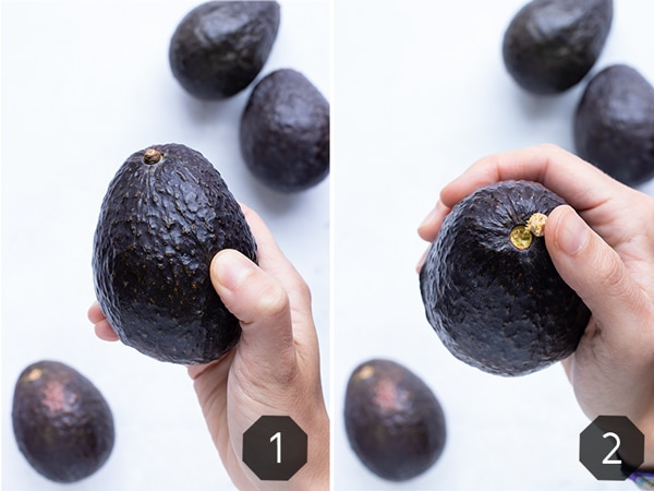 Two images showing how to tell if an avocado is ripe by feeling its firmness and looking at it's stem.