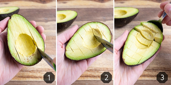 Step-by-step photos showing how to cut an avocado into slices or cubes.