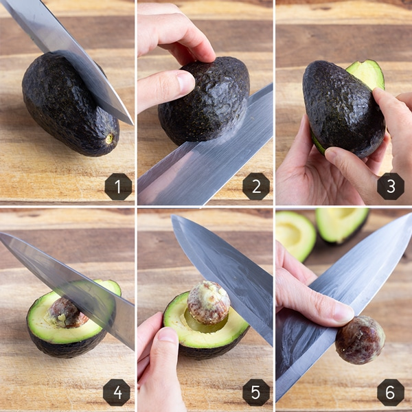 Step by step photos showing how to cut an avocado in half, twist it, remove and discard the pit.