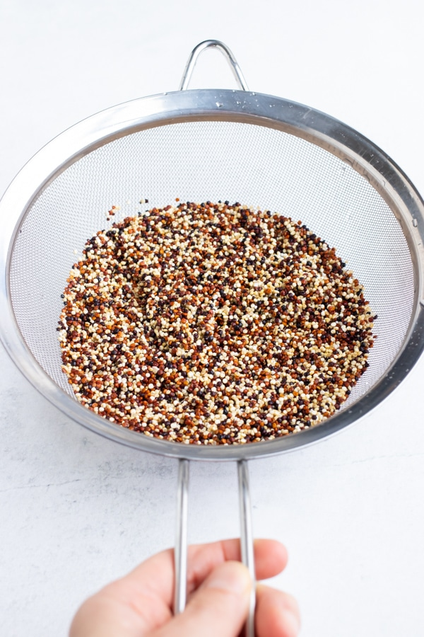 A fine mesh strainer with quinoa that has been rinsed with water.