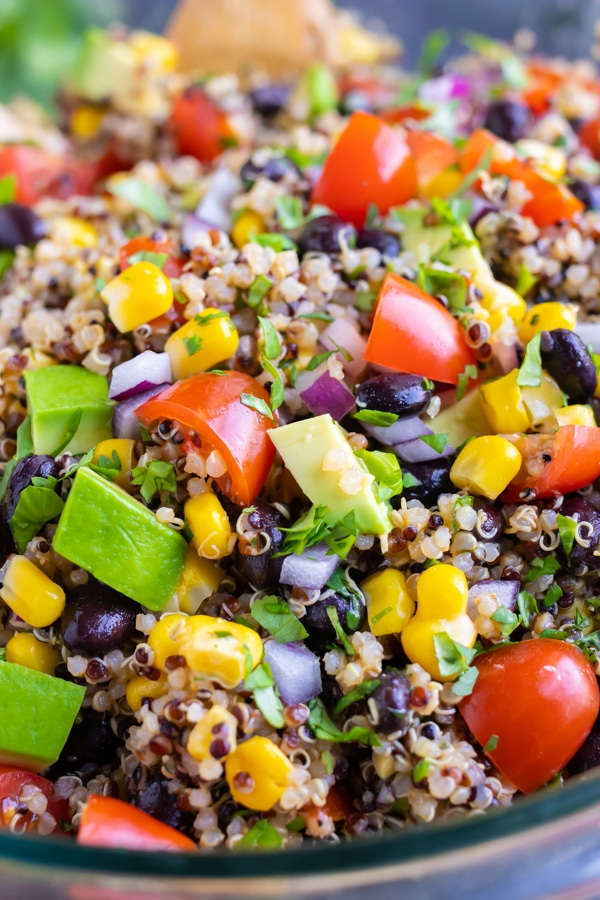 A quick and easy quinoa salad recipe with Mexican spices, avocado, and black beans.