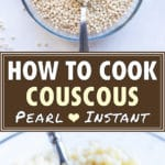 Dry pearl couscous in a bowl with a spoon and cooked being scooped up with a spoon.
