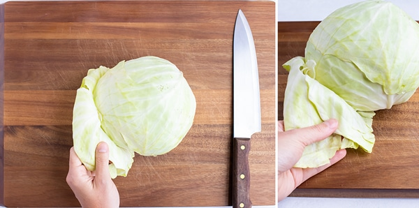 Removing the loose and brown leaves from the outside of a head of cabbage.