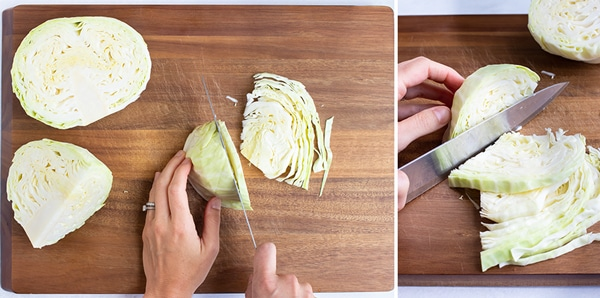 Shredding cabbage by thinly slicing it with a knife.