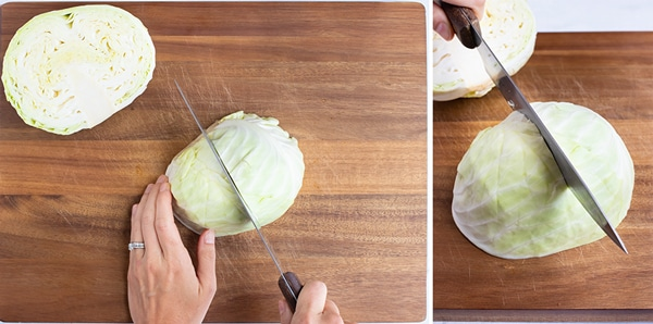 Cutting a cabbage head into quarters, or wedges.