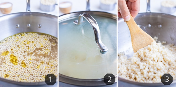 Step-by-step instructions showing how to steam Israeli couscous in a pot by simmering with a lid.