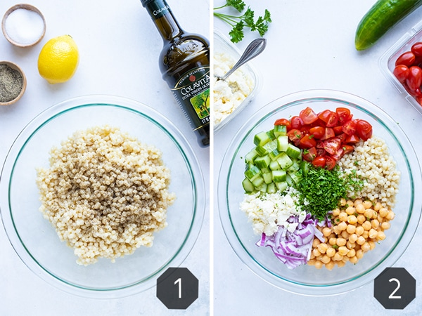 A large glass mixing bowl full of tomatoes, cucumbers, garbanzo beans, and feta cheese to show how to make a Mediterranean couscous salad.