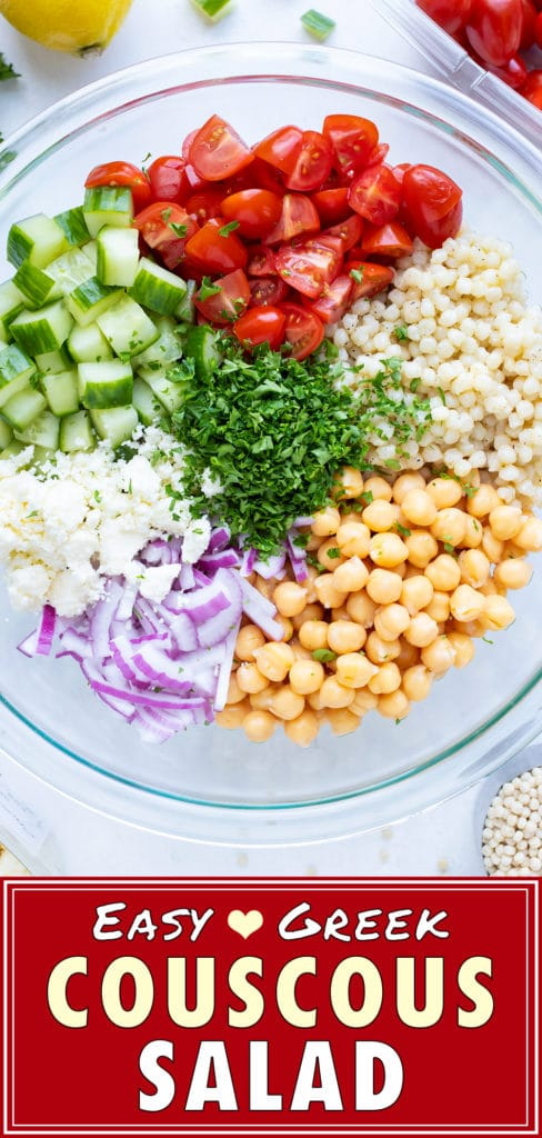Mediterranean Couscous Salad with Tomatoes & Feta | Easy, Cold Greek Summer Salad