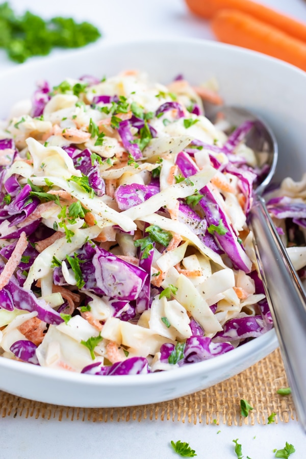 An easy coleslaw recipe with shredded cabbage and carrots, mayonnaise and mustard.