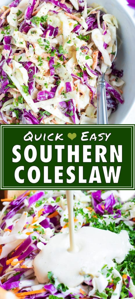 Coleslaw dressing with mayonnaise and mustard being poured over shredded cabbage.