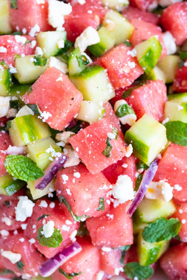 Big chunks of fresh watermelon, diced cucumber, feta cheese crumbles, red onion, and fresh mint.