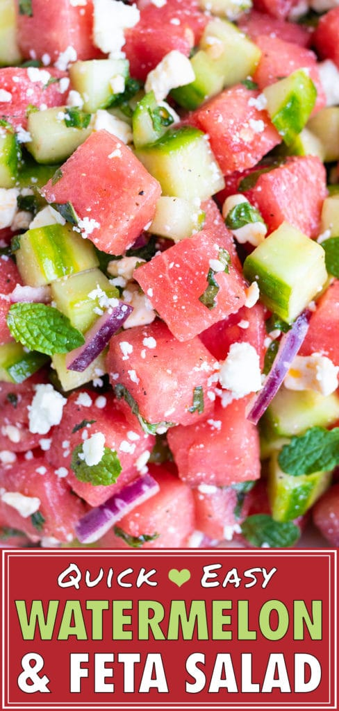 Watermelon Feta Salad with Mint & Cucumbers | Quick, Healthy, Easy Cold Summer Picnic Recipe
