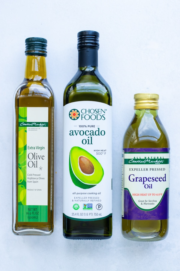 Olive, avocado, and grapeseed oils as the best types to use for frying healthy fritters.