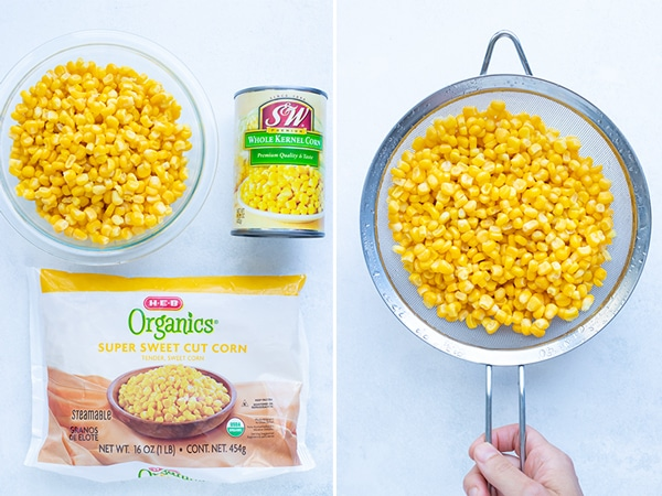 Fresh, frozen, and canned corn to be used in a homemade fritters recipe.