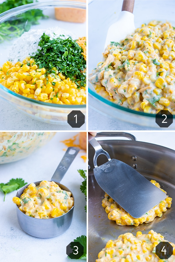 A glass bowl full of corn and other ingredients being mixed together and measured out and then fried in a skillet to show how to make corn fritters.