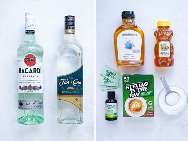 Best type of rums and sweeteners to use in a frozen mojito recipe.