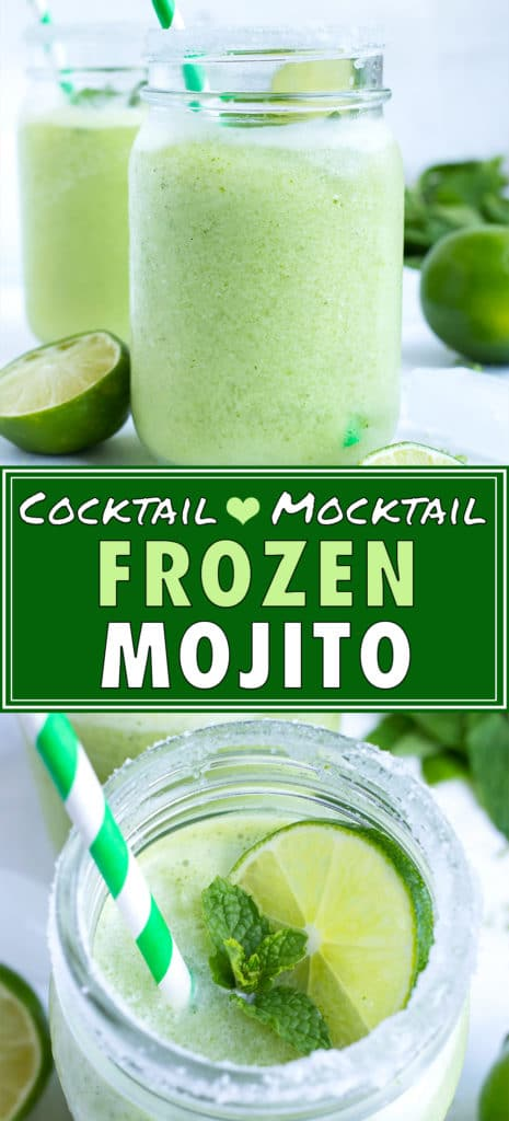 Two mason jar glasses full of a frozen mojito with fresh mint.