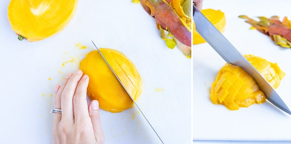 Dicing mango fruit with a knife for a salsa recipe.