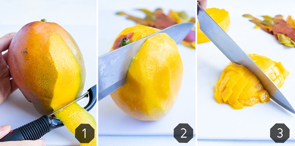 Three images showing how to peel, cut, and dice mango.