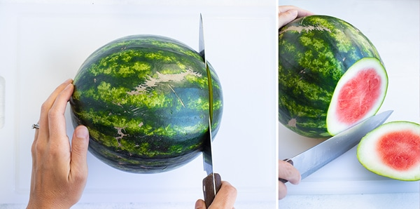 Cutting the end off of a watermelon.