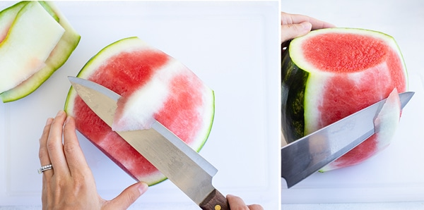 Cutting and removing the white part of the watermelon rind.