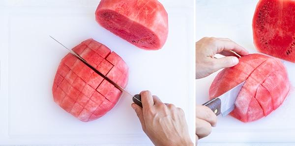 Cutting a watermelon into sticks.