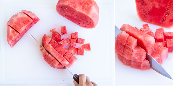 Cutting a watermelon into cubes.