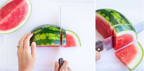 Cutting a watermelon quarter into 1-inch wedges with a knife.