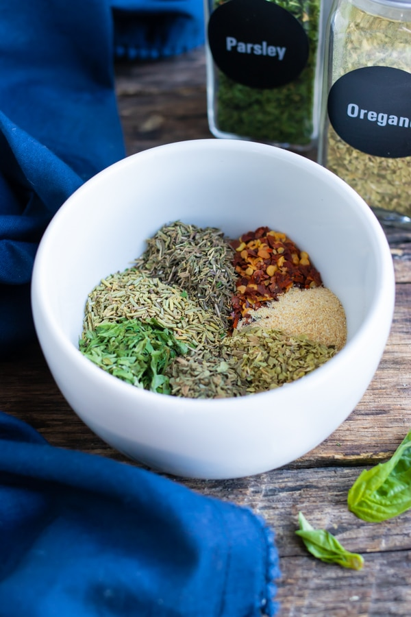 A quick and easy homemade seasoning mix made with common ground Italian herbs.