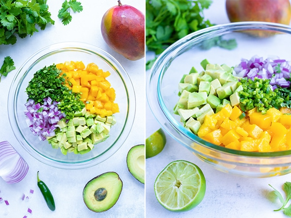 A large bowl full of diced mango, avocado, red onion, cilantro, and jalapeno for a salsa recipe.