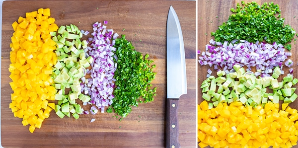 Finely diced mango, avocado, red onion, cilantro, and serrano peppers for an easy and fresh salsa recipe.