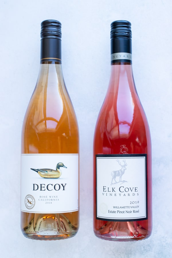 Two different types of rosé wine to be used in a frozen drink recipe.