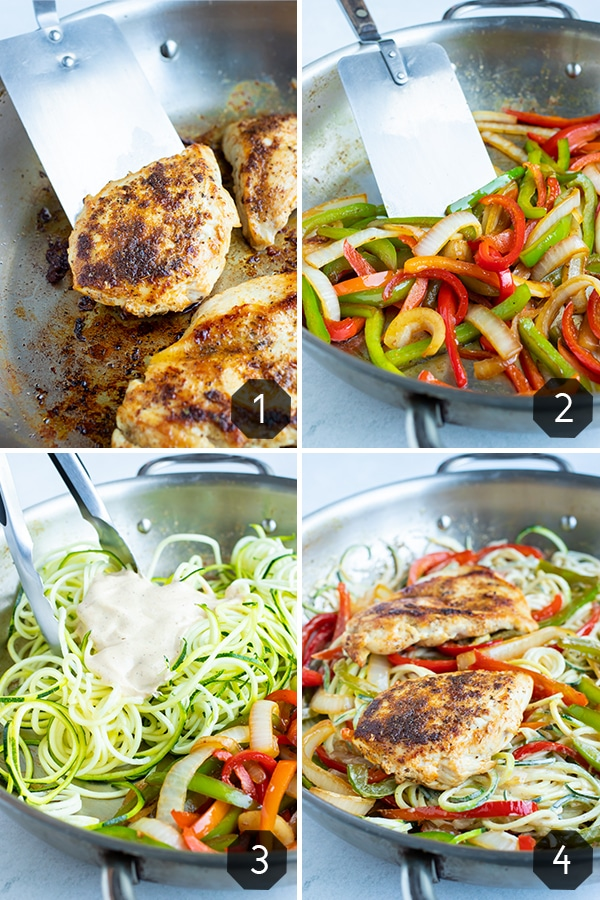 Step by step instructions for adding cajun chicken to the sauteéd bell peppers and tender zucchini noodles in the healthy dinner recipe.