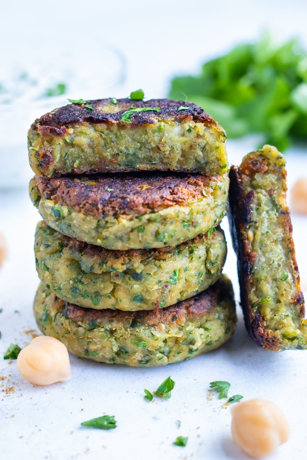 Falafel is an easy Mediterranean dish that is stacked on the counter.