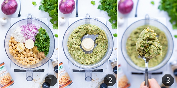 Step by step instructional pictures for how to make falafel using a food processor.