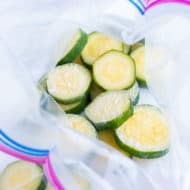 You can freeze zucchini by slicing, cooking, and freezing the zucchini and then storing in a freezer-friendly ziplock.