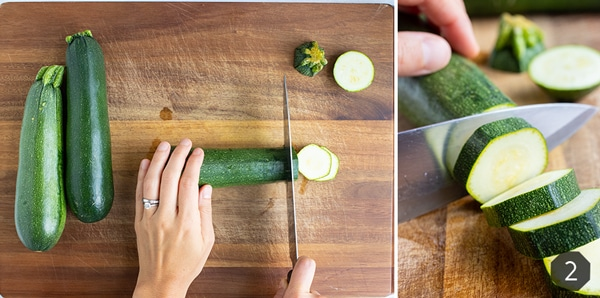 Step by step instructions for chopping zucchini into slices to be frozen for future recipes.