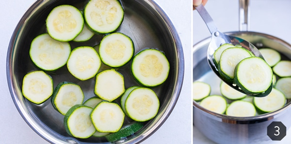 Step by step instructructional photos for blanching zucchini by cooking zucchini in a pot of boiling water.