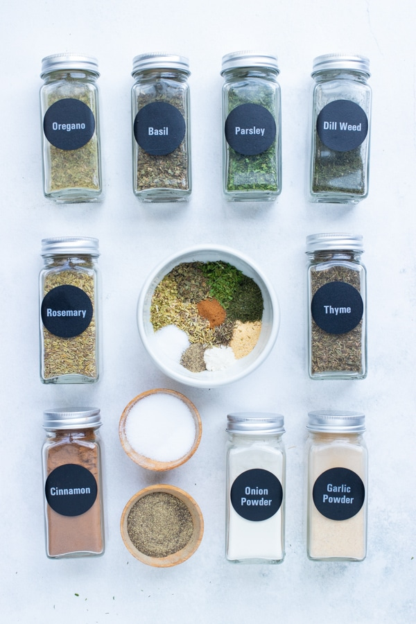 Easy to find, herbs and spices are combined in a bowl.