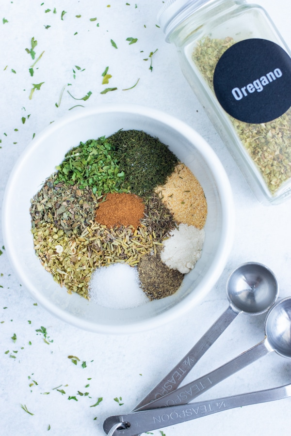 Greek seasoning is quick and easy to make as you combine common dried herbs and spices.