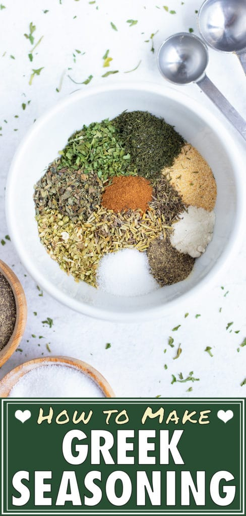 Spices and herbs are easily and quickly combined in this gluten-free Greek seasoning.