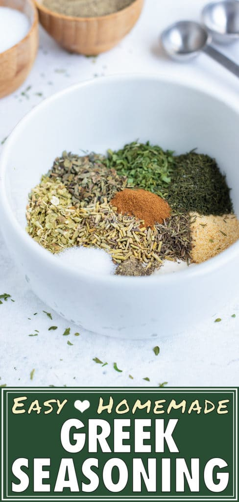 Make homemade greek seasoning as you mix together dried herbs and spices in this easy, gluten-free spice mix.