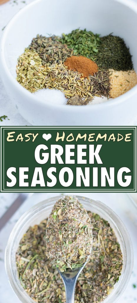 Oregano, rosemary, basil, parsley, dill, and other spices are combined in a homemade Greek seasoning mix.