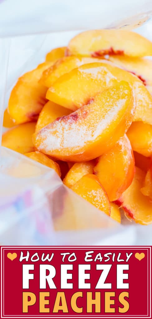 Sliced, frozen peaches are shown stacked in a freezer-safe gallon sized plastic bag.
