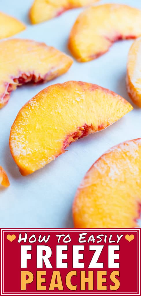 Frozen peaches are placed flat and spaced apart after being put in the freezer.
