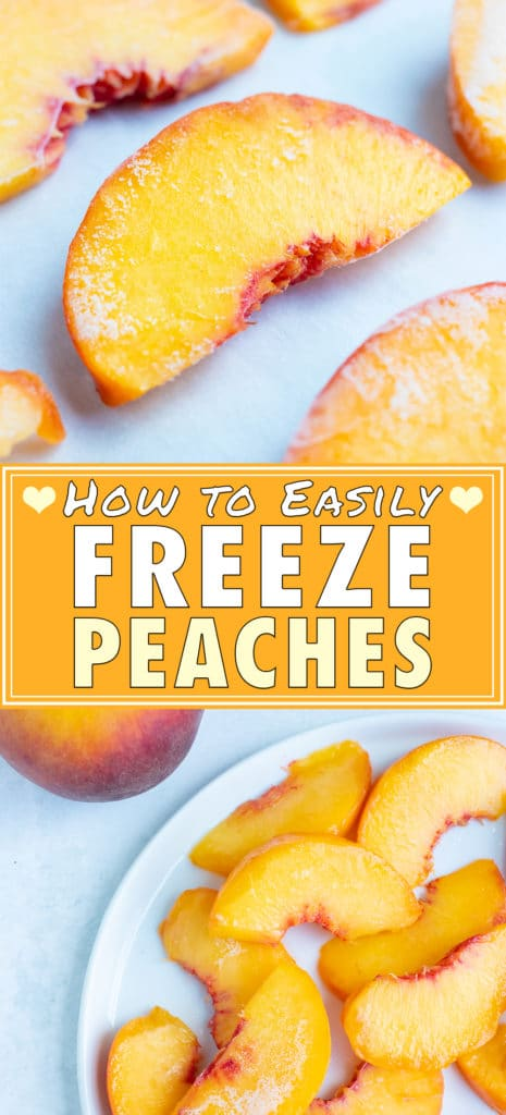 Peaches are sliced and placed on a sheet of parchment paper on a baking sheet before putting in the freezer.